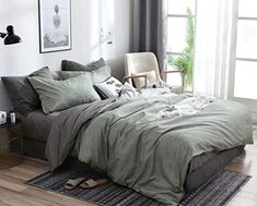 Jameswish Green Gray Duvet Cover Set Twin Size Sage Green Charcoal Grey Reversible Farmhouse Bedding Sets Modern Solid Colored Microfiber Chambray Comforter Quilt Cover for Men Women Green Comforter, Grey Duvet, Green Bed Covers, Room Ideas Bedroom, Bedroom Decor, Farmhouse Bedding Sets, Sage Green Bedroom, Grey Room, Aesthetic Room Decor