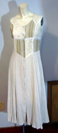 Vintage 70s Candy Girl Beige Muslin & Lace Midi dress Sleeveless S 36 Bust  #CandyGirl