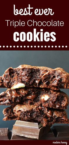 Best ever triple chocolate chip cookies. Rich chocolate cookies with semisweet chocolate chips and white chocolate chips. Perfect chocolate cookies. www.modernhoney.com