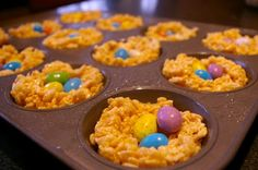"""Easy rice crispie """"nest"""" with chocolate eggs in the center"""