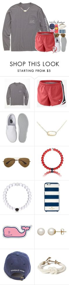 """I got some dresses"" by kate-elizabethh ❤ liked on Polyvore featuring Vineyard Vines, NIKE, Vans, Kendra Scott, Ray-Ban, Kate Spade, Honora and Kiel James Patrick"