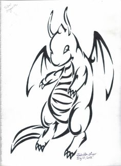 Dragonite Pokemon Tribal Tattoo art