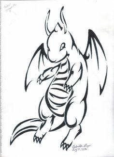 Dragonite Pokemon Tribal Tattoo art