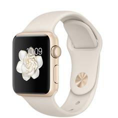 Apple Watch Sport - Caixa em alumínio dourado de 38 mm com Bracelete desportiva em branco antigo - Apple (PT)