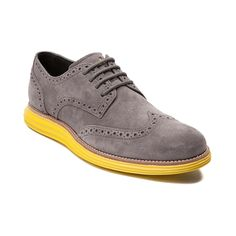 Shop for Mens Cole Haan Lunar Suede Casual Shoe, Gray Volt, at Journeys Shoes. The new Lunar Suede Casual Shoe from Cole Haan is out of this world! The epic new Lunar Casual Shoe sports an oxford style fused with a sneaker sole with a super soft suede upper and perforated brogue style wingtip toe, lace up front closure, single-stitched welt, and Nikes innovative Lunarlon outsole for foamy cushion and comfort.