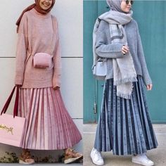 pleated skirt with sweaters-Top hijab fashion looks – Just Trendy Girls