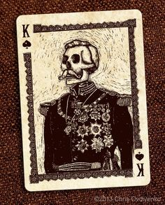Playing Cards - King Of Spades, Calaveras Playing Cards by Chris Ovdiyenko Playing Cards Art, Custom Playing Cards, Vintage Playing Cards, King Of Spades, Day Of The Dead Art, Arte Sketchbook, Arte Horror, Art Plastique, Skull Art