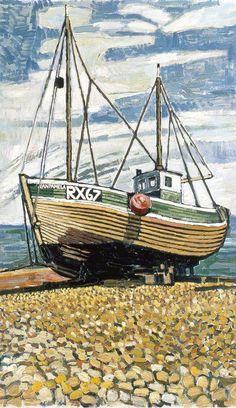 Fishing Boat at Dungeness, by John Randall Bratby Date painted: Oil on canvas, Collection: Brighton and Hove Museums and Art Galleries John Bratby, Nautical Painting, Brighton And Hove, Painting Collage, English Artists, Coastal Art, Art Database, Art Uk, Your Paintings