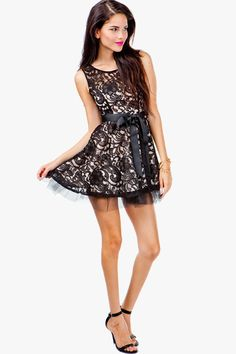 AGACI Lace Overlay Fit & Flare Dress - DRESSES