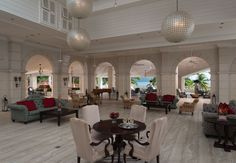 The elegant lobby of Sandals Grande St. Lucian | Sandals Resorts | St. Lucia.