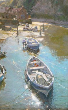 //David Curtis Artist Demos | Rising Tide Staithes - Oil 16x10 #art #painting