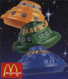 McDonald's Spaceship Happy Meals, early 80's (around the time when Devo's Whip It was popular - the guys would wear them on their heads).