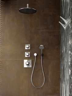 axor massaud shower system with volume control and diverter