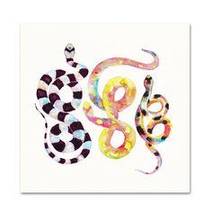 Watercolor Snakes. Tribal Serpent Art. by SnoogsAndWilde on Etsy