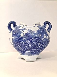 Blue and White Chinoiserie Vase with Blue by EncoreVintageDecor, $50.00