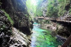 blue and green Sava river in Vintgar Gorge, Slovenia