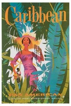 All the colors are here in this 1970 Pan AM Caribbean Travel Poster.  How electric and cool is it?   Place it anywhere. It will pick up all the wonderful colors of my color crush.