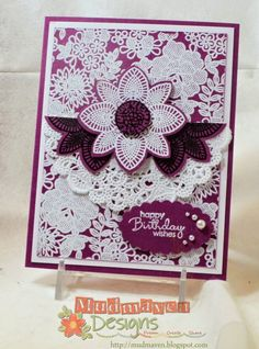 Stampin' Up Petal Potpourri & Something Lacey Stamp Sets, Flower Medallion Punch Tea Lace Paper Doilies Smoky Slate, Rich Razzleberry Card Stock