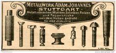 Original-Werbung/ Anzeige 1903 - SCHRAUBEN / METALLWERK ADAM JOHANNES - STUTTGART - ca. 80 x 40 mm