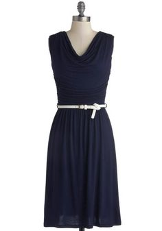 Bayside Vacay Dress - Blue, White, Solid, Belted, Ruching, Casual, A-line, Cap Sleeves, Good, Cowl, Jersey, Knit, Long, Work