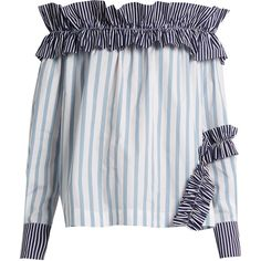 MSGM Off-the-shoulder ruffled cotton top (€275) ❤ liked on Polyvore featuring tops, blue white, frilly tops, off the shoulder frill top, striped off the shoulder top, flutter-sleeve top and striped off-the-shoulder tops