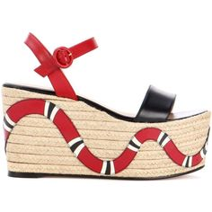 Gucci Espadrille snake wedges ($730) ❤ liked on Polyvore featuring shoes, sandals, espadrille wedge shoes, gucci footwear, espadrilles shoes, wedge shoes and gucci shoes