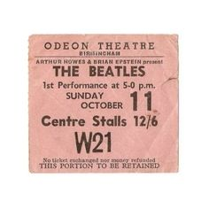 Beatles Concert Tickets ❤ liked on Polyvore featuring fillers, tickets, music, words, backgrounds, text, quotes, embellishment, doodle and detail