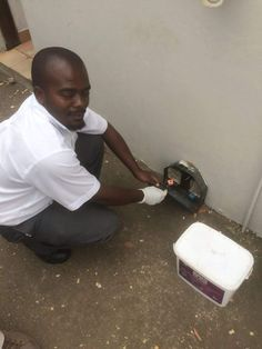 One of our trusted professionals Patros from the South Coast branch baiting a tamper proof rodent box for a client. Ensuring that their location is rat free! Rat Control, Rodents, Rats, South Africa, At Least, Safety, Box, Birds, High Risk