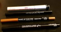 Waterproof or resistant eye makeup for anything! Film, swimming or just a long day 1- Blinc black mascara Fab 2- Geisha fine liquid brow liner 3- Makeup forever 24/7 creamy pencil 'keep it sharpened' and the best liquid eyeliner anywhere is the 4- Geisha black liquid liner. ' you can do anything with this cleanliness up quickly but when its dry its there for a the day night and even another day' - careymakeup.com