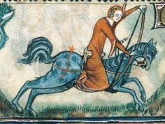 Female archer on horseback. Taymouth Hours, England 1325 - 40