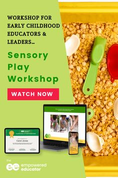 Learn how to incorporate sensory play into your early childhood centre learning program - This on-demand workshop will equip early childhood educators, leaders, and coordinators with ideas and opportunities to use sensory play activities for all children in their program. Head over to the workshop page to learn more! | The Empowered Educator Sensory Bins, Sensory Activities, Sensory Play, Activities For Kids, Centre Learning, Play Based Learning, Early Childhood Centre, Early Childhood Education, Early Years Teacher