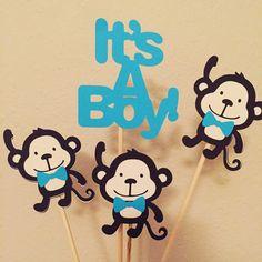 Blue Monkey bow tie Centerpiece set // safari jungle theme // its a boy baby shower by pinktreepapers on Etsy https://www.etsy.com/listing/249863720/blue-monkey-bow-tie-centerpiece-set