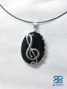 Houslový klíč - cínovaný šperk - obsidián