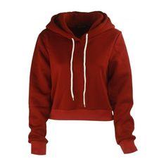 Women's Solid Color Drawstring Hooded Crop Sweatshirt (675 UYU) ❤ liked on Polyvore featuring tops, hoodies, sweatshirts, red top, red hooded sweatshirt, loose fit crop top, cropped sweatshirt and long sleeve hooded sweatshirt