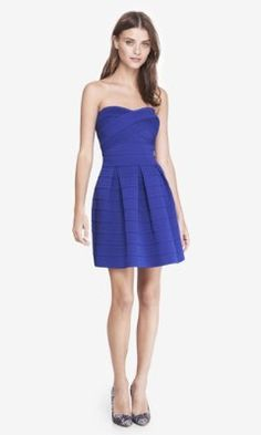 BLUE ELASTIC FIT AND FLARE DRESS from EXPRESS