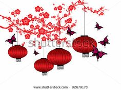Cherry Blossom And Red Lanterns Vector/Illustration - 92679178 ...