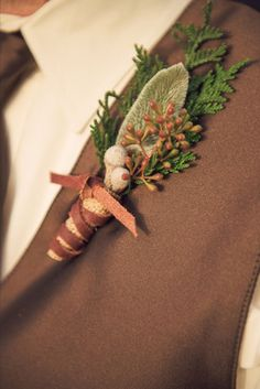 KRISanthemums Boutonniere, Lambs ear (from my gardens), leather  wrap (from saddle shop throw away), cedar from gardens, berries  $20.00