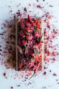 Chocolate Semifreddo with Chili, Strawberry, Olive Oil & Rose  |  Gather & Feast