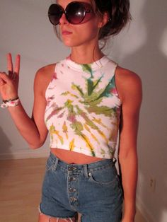 OOAK UpCycled Vintage Tie Dye Crop Top Tank XS Boho Hippie Gypsy Club Kid Acid Grunge Neon Hipster Hi Neck Festival Wear For Sale now at BohemianSeed on Etsy.com