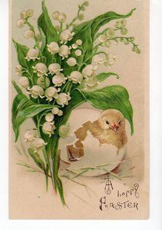 "Vintage ""Have a Blessed Easter! - postcard - Lily of the Valley"" Vintage Easter, Vintage Holiday, Vintage Greeting Cards, Vintage Postcards, Decoupage, Easter Illustration, Christian Holidays, Easter Art, Easter Parade"