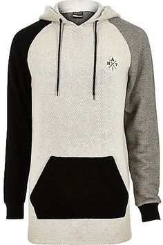 River Island MensGrey Antioch panel longline hoodie  - Click link for product details :)