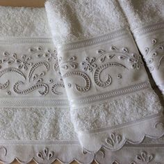 Beautiful Bathrooms using the Warm Allure of Yellow Towel Embroidery, Embroidered Towels, Vintage Embroidery, Ribbon Embroidery, Embroidery Patterns, Bathroom Vanity Cabinets, Bathroom Countertops, Diy Bathroom Decor, Bathroom Towels