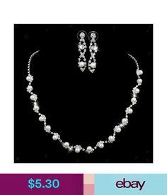 Sets Fashion Pearl Crystal Rhinestone Necklace Earrings Bride Wedding Jewelry Set #ebay #Fashion