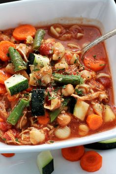 Hearty Minestrone Soup is so thick and filling. This is not one of those watered down soups. It will stick to your ribs. Add any vegetable, and you are set.