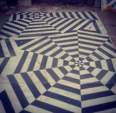 Live from Agra - verandah flooring for JaipurModern #marble #inlay #white #black #handmade #design
