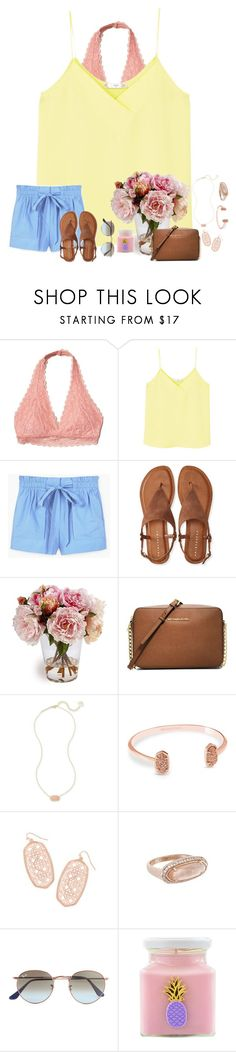 """""""~spring into summer~"""" by taybug2147 ❤ liked on Polyvore featuring Hollister Co., MANGO, Aéropostale, MICHAEL Michael Kors, Kendra Scott, Ray-Ban and Flamingo Candles"""
