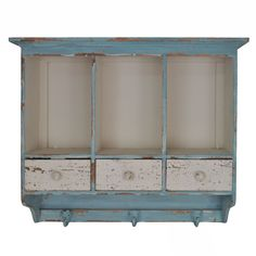Distressed Wooden Hanging 3 Section Wall Cabinet with Cubbies and Drawers