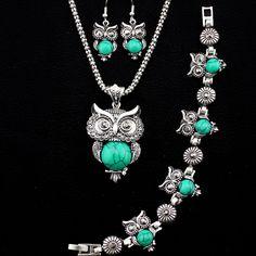 Fashion Jewelry Necklace Bracelet Earring Cute Owl Pendant Turquoise Jewelry Set #Handmade