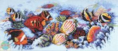 Cross Stitch Sea, Free Cross Stitch Charts, Cross Stitch Animals, Counted Cross Stitch Patterns, Cross Stitch Designs, Coral Reef Color, Needlework, Painting, Ocean Scenes