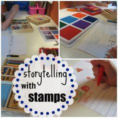 Help your child experiment with storytelling (while practicing reading and writing too) using stamps! #CampSunnyPatch Session 12